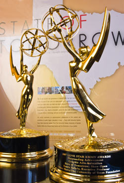 The Two Lone Star EMMY's on display